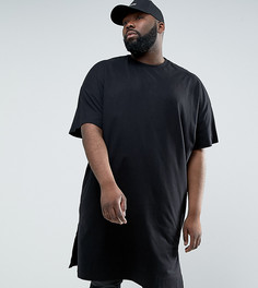 Черная супердлинная oверсайз-футболка ASOS PLUS - Черный