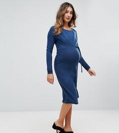 Трикотажное платье со сборками Mamalicious - Синий Mama.Licious