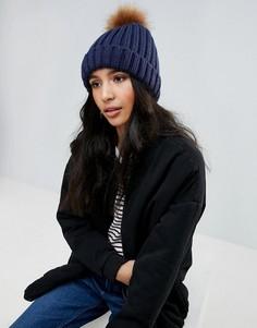Вязаная шапка-бини с помпоном Boardmans - Темно-синий