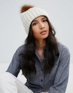 Вязаная шапка-бини с помпоном Boardmans - Бежевый