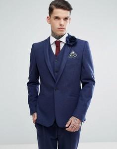 Темно-синий приталенный пиджак с добавлением шерсти ASOS Wedding - Темно-синий