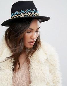 Фетровая шляпа с вышивкой на ленте Brixton - Черный