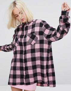 Фланелевая клетчатая оверсайз-рубашка с карманами в форме сердца Lazy Oaf - Мульти
