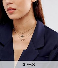 Набор из 3 ожерельев-чокеров ASOS - Золотой