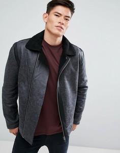 Байкерская куртка из искусственной кожи с воротником борг D-Struct - Черный