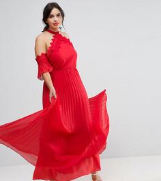 Платье-халтер макси с плиссированной юбкой Truly You - Красный