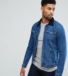 Джинсовая куртка с воротником из искусственного меха Another Influence TALL - Синий