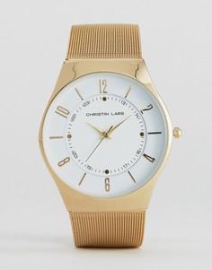 Часы с белым круглым циферблатом Christian Lars - Золотой