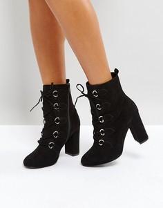 Ботинки с D-образными пряжками и шнуровкой Faith Bria - Черный