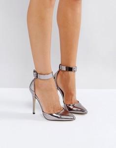 Туфли на высоком каблуке с острым носом и пряжками London Rebel - Серый