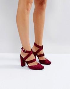 Бархатные туфли на высоком каблуке London Rebel - Красный