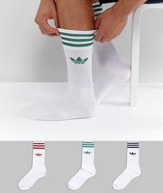 3 пары белых однотонных носков adidas Originals CE4991 - Белый