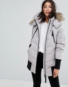 Дутая куртка с манжетами в рубчик Esprit - Серый