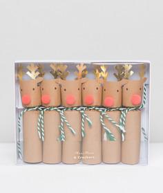 Набор из 6 новогодних хлопушек с оленями Meri Meri - Мульти
