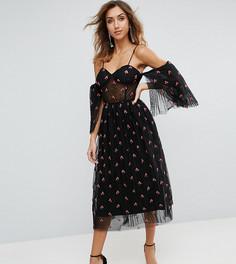 Платье миди для выпускного с вышивкой ASOS TALL - Черный