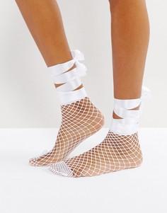 Сетчатые носки с завязкой на бант ASOS - Белый