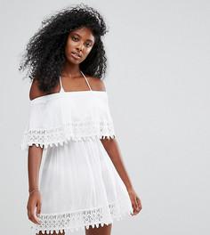 Пляжное платье с оборками из кроше Akasa - Белый