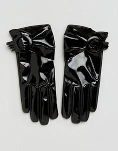 Лакированные перчатки с пряжкой для сенсорных экранов ASOS Black - Черный