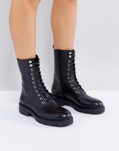 Черные кожаные ботинки в стиле милитари Vagabond Kenova - Черный
