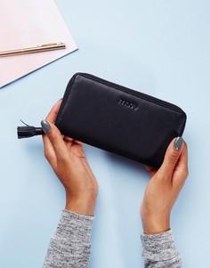 Кожаный кошелек на молнии Made - Черный