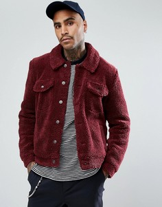Бордовая куртка в стиле вестерн из искусственного меха ASOS - Красный