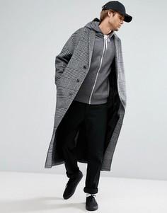 Пальто в клетку из ткани с добавлением шерсти ASOS - Серый