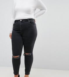 Черные рваные джинсы скинни с завышенной талией ASOS CURVE - Черный