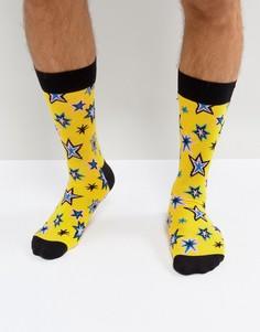 Желтые носки с принтом Happy Socks - Желтый
