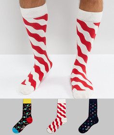 Новогодний подарочный набор из 3 пар носков Happy Socks - Мульти