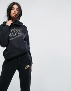 Худи с логотипом металлик и воротником-труба Nike - Мульти
