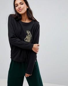 Свитшот с вышивкой леопарда Blend She - Черный