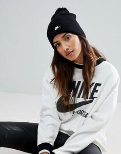 Черная шапка-бини с помпоном Nike - Черный