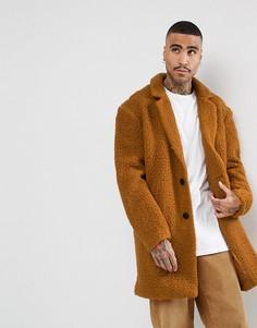 Свободное пальто с искусственным мехом ASOS - Оранжевый