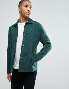 Зеленая фактурная трикотажная куртка Харрингтон ASOS - Зеленый