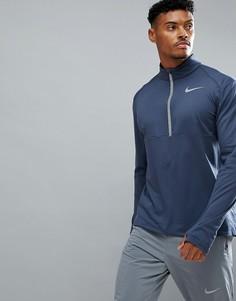 Темно-синий свитшот с молнией 1/4 Nike Running 856827-471 - Темно-синий