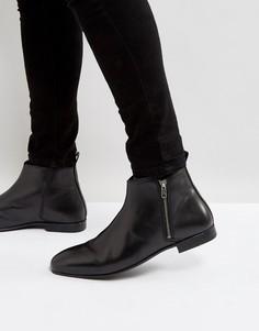 Черные кожаные ботинки челси с молнией Frank Wright - Черный
