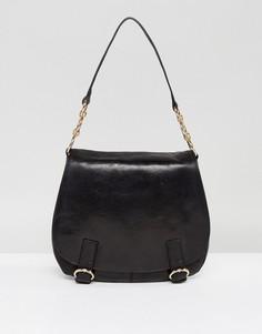 Кожаная сумка через плечо с пряжкой Urbancode - Черный