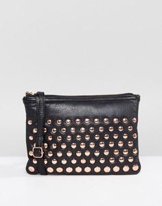 Кожаная сумка чере плечо с заклепками цвета розового золота Urbancode - Черный