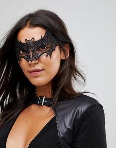 Маска для сна в виде летучей мыши с кружевной аппликацией Leg Avenue Halloween - Черный