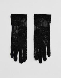Эластичные кружевные перчатки длиной до запястья Leg Avenue - Черный