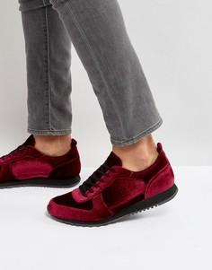 Бордовые бархатные кроссовки ASOS - Красный