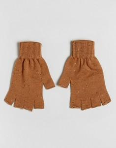 Перчатки табачного цвета без пальцев с непсами ASOS - Коричневый