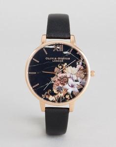 Часы с черным кожаным ремешком и цветочным принтом на циферблате Olivia Burton OB16CS01 - Черный