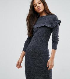 Платье в рубчик с оборкой Brave Soul Tall - Темно-синий