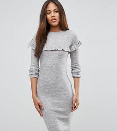 Платье в рубчик с оборкой Brave Soul Tall - Серый
