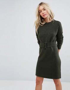Трикотажное платье мини с поясом ASOS - Зеленый