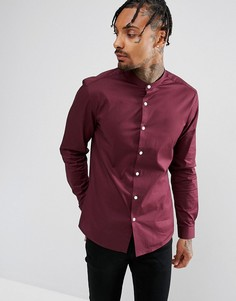 Бордовая рубашка узкого кроя с воротником-стойкой ASOS - Красный