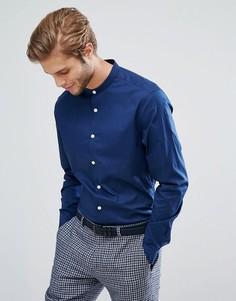 Темно-синяя рубашка узкого кроя с воротником на пуговице ASOS - Темно-синий