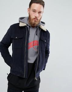 Вельветовая куртка с воротником из искусственного меха Jack & Jones Vintage - Темно-синий