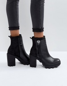 Черные кожаные ботинки на каблуке Calvin Klein Jeans Jackie - Черный